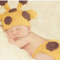 Baby Crochet Giraffe Hat and Diaper Cover Set Photography Props Costume