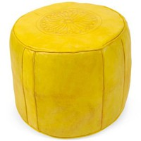 One Kings Lane - Lawson-Fenning - Yellow Leather Pouf