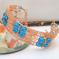 Blue glass copper wire wrapped wide cuff bangle handmade bracelet | catinalife - Jewelry on ArtFire