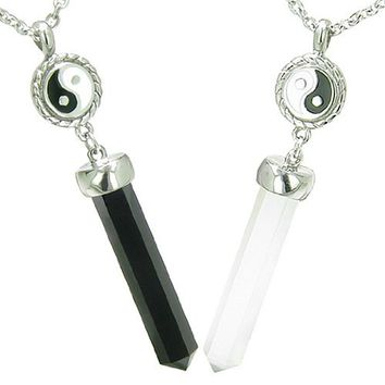 Positive Energy Yin Yang Love Couple Set Balance Amulets Crystal Points Man Made Black Onyx White Cats Eye Stainless Steel Necklaces