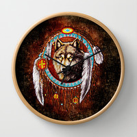 Indian Native Stark Clan Wolf Dream Catcher Decorative Circle Wall Clock Watch by Three Second
