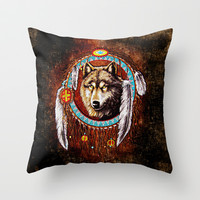 Indian Native Stark Clan Wolf Dream Catcher Throw Pillow case by Three Second