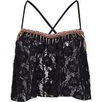 Black lace embellished trim crop top