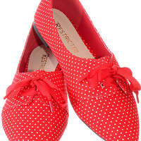 Cherry Red Petite Polka Dots Flats