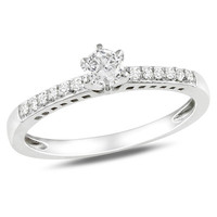 Lab-Created White Sapphire Solitaire and Diamond Accent Promise Ring in Sterling Silver - View All Rings - Zales