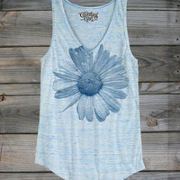 Juniors Country Girls™ Daisy Blue Flowy V-Neck Tank