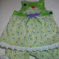 Baby Girl Summer Clothes - Baby girl sun dress and pantaloons -Baby girl top and diaper Cover Set