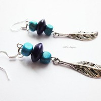 Blue Turquoise Wood Beads Antique Silver Leaves Earrings Ocean | LittleApples - Jewelry on ArtFire