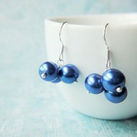 Electric Blue Pearls Earrings Deep Blue Cluster Chic Silver Handmade | LittleApples - Jewelry on ArtFire