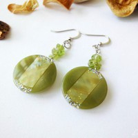 Peridot Chips Silver Earrings Button | LittleApples - Jewelry on ArtFire
