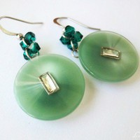 Emerald Buttons Earrings Crystal Jade Green Silver | LittleApples - Jewelry on ArtFire