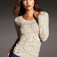 Long-sleeve Stretch Lace Top - Victoria&#x27;s Secret