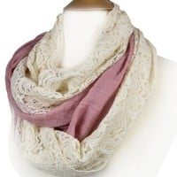 FandS - Solid & Lace Mixed Fashion Infinity Scarf | Multi Color