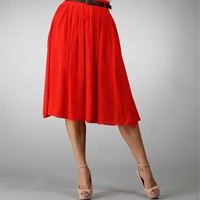 Red Pleated Skirt With Belt :: www.windsorstore.com