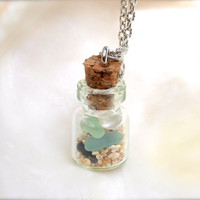 Sea Glass Jewelry made in Hawaii, Hawaiian Jewelry, sand & seaglass vial necklace, beach glass in a jar, ocean inspired, Mermaid Tears