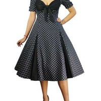 Polka-dot/Black Plus-size Retro Polka-Dot Swing Dress
