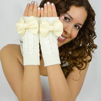 Ivory Fingerless Mittens Ivory knit gloves Ivory grosgrain bow gloves knitted bow knit fingerless gloves Ivory arm warmers off white cream