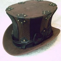 Custom Brown and Black Stripy Top Hat | GypsyLadyHats - Accessories on ArtFire