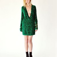Imitation Emerald Green Leopard Cowl Dress