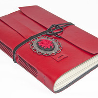 Large Red Faux Leather Journal with Cameo Bookmark