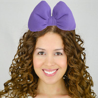 Purple Headband Bow Purple Bow Purple Hair Bow Purple Bow Headband Rockabilly Fashion Kawaii Dolly Women Teens Girls Poofy Puffy Puff Plush