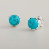 Round Turquoise Stud Earrings