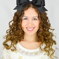 Huge Black Headband Bow Satin Ribbon Headband Oversize hair bow huge hair bow statement headband gothic lolita bow cheer bow cheer headband