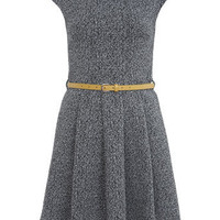 Textured Belted Skater Dress 