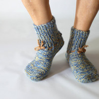 Hand-knitted woolen socks unisex size medium, hand knit socks, wool socks, 7,5-9,5 US