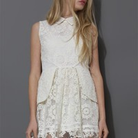 Sleeveless Snowflake Embroidered Peplum Dress