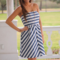 Nantucket Dress, Blue/White