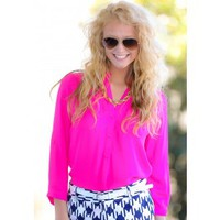 Put Up A Front Blouse-Hot Pink