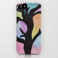 Tree On Watercolor iPhone & iPod Case by Oksana's Art
