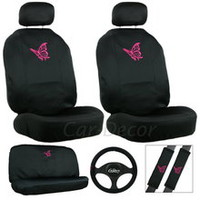 Girly Butterfly Car Seat Cover Set Pink Car Accessory