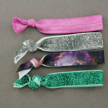 Elastic Hair Ties : Set of 4 Elastic Ribbon Hair Ties, Ponytail, Top Knot, Bracelet, Galaxy, Tie Dye, Glitter, Teal, Pink, Silver, Space