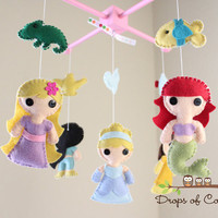 Baby Mobile - Baby Crib Mobile - Princess Mobile - Girl Nursery Room Decor - Disney Princesses (You Can Pick Other Custom Princesses)