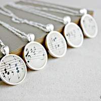 Bridesmaid necklace gift set  Sheet music pendants by GildedNotes