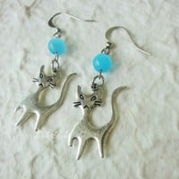 Cats Earrings Silver Twins Blue Cats Eyes Charms Halloween | LittleApples - Jewelry on ArtFire