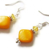 Yellow Earrings Crystals Shell Beads Egg Yolk Silver | LittleApples - Jewelry on ArtFire