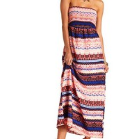 TRIBAL PRINT SHIRRED STRAPLESS MAXI DRESS