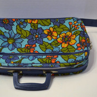 Vintage Retro Suitcase Flower Power Blue Turquoise Laptop Case Overnight Bag Panchosporch