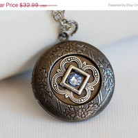 ON SALE Locket,Something Blue locket,Rhinestone Silver Locket,filigree locket necklace,photo locket ,bridesmaid gift locket - silver locket