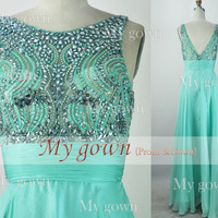 2014 Prom Dress Mint Crystal Beading Chiffon Floor Length Prom Dress,Evening Dress,Formal Dress,wedding dress,Prom Dress,Evening Gown