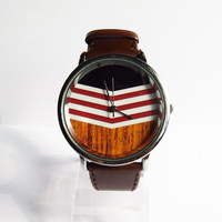 Chevron on Wood Watch, Vintage Style Leather Watch, Women Watches, Mens Watch, Unisex Watch, Boyfriend Watch, Silver Case , Black,