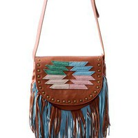 Retro Aztec Pattern Fringe Crossbody Bag - Goods - Retro, Indie and Unique Fashion