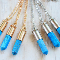 GOLD/SILVER ➳ TURQUOISE BULLET CRYSTAL NECKLACE