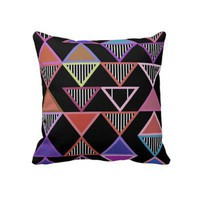 Black Neon Triangles Pattern  Pillow from Zazzle.com