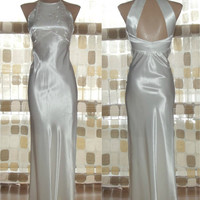 Vintage 80s Retro 30s White Satin Bias Harlow Sequin Gown 5/6 S/XS Halter Neck Open Back Gastby