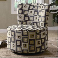 Round Swivel Accent Chair in Retro Square Pattern