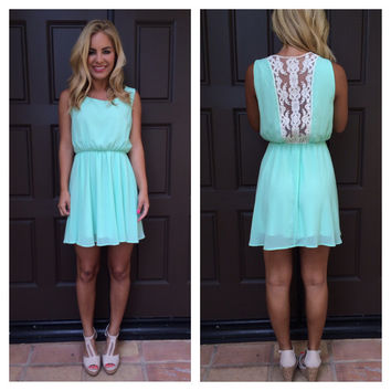 Mint with Lace Back Detail Dress
